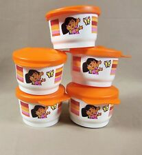 NEW 5 Tupperware Kids #1229 Dora the Explorer G Snack Cup with Orange Lid #4320