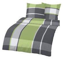 Biber Bettwäsche 135x200 cm + 40x80 cm Karo grau grün Baumwolle B-Ware