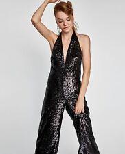 Zara Black Sequinned Halter Neck Jumpsuit Size L NWT