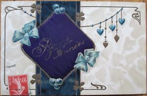 Novelty French Art Nouveau 1910 New Year Postcard w/Applied Silk Pillow