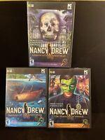 Lot Of 3- NANCY DREW PC CD/DVD Rom, The Phantom Of Venice, Ransom Of The Seven