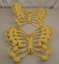 2 Vintage HOMCO Burwood Wall Art Decor Dayglo Plastic Butterfly Plaques