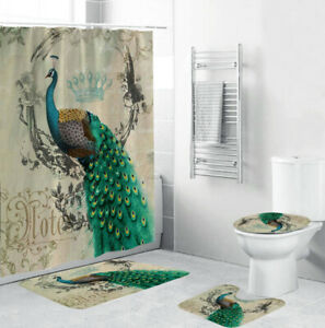 Peacock Shower Curtain Bathroom Rug Set Thick Bath Mat Non-Slip Toilet Lid Cover