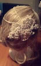 Handmade vintage ivory lace & pearl applique, flower bridal headpiece fascinator