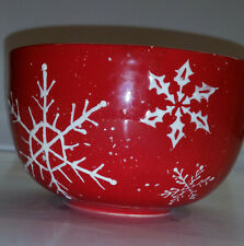 Vintage Century Red with White Snowflake Pattern Bowl