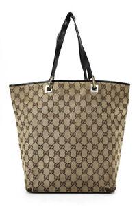Gucci Women's GG Monogrammed Canvas Tote Bag Brown Large Handbag