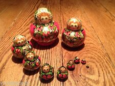 Russian 20 piece (10 Dolls) Matryoshka Nesting Dolls Red/Black/Green/White/Gold