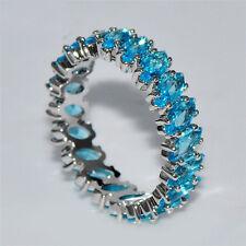Women Fashion Silver Aquamarine Cluster Ring Wedding Engagement Jewelry Sz 6-10