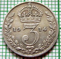 GREAT BRITAIN GEORGE V 1914 THREEPENCE 3 PENCE, 0.925 SILVER