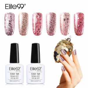 Elite99 Rose Gold Glitter Color UV Gel Polish No Wipe Top Base Coat Nail Varnish