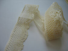 Hand dyed lace,lattice/floral,rayon/ polyester,ANTIQUE CREAM COLOR,5 yds! SALE!