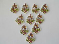 10 CHRISTMAS TREE MULTI COLOUR Shaped Wooden Buttons Scrap book Crafts Sewing