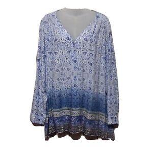 Simply Emma Women Plus Size 3X Blue Floral Boho Tunic Top Blouse Shirt
