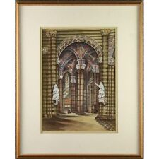 Original Framed Watercolour Painting Romanesque Vaulted Church Ceiling Interior