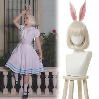 Beastars Haru Cosplay Wig Short White Hair+Bunny Rabbit Ears