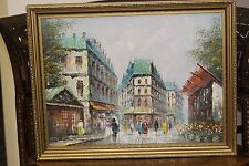 OIL PAINTINGS ON CANVAS PARIS SCENE SIGNED T.CARSON V GOOD