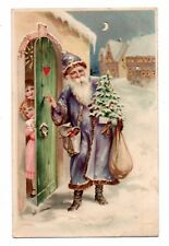 HOLD TO LIGHT SANTA IN VIOLET SUIT KNOCKS AT DOOR, CHRISTMAS PC, c. 1902