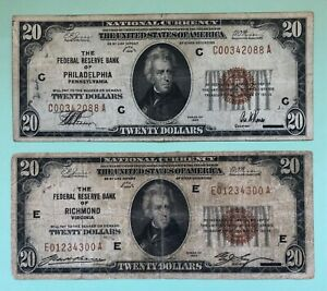 TWO 1929 $20 FEDERAL RESERVE PHILADELPHIA & RICHMOND NATIONAL CURRENCY NOTE PAIR