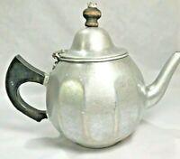 Mirro Aluminum 1 Quart 4 Cup Teapot Tea Strainer in Wood Handle Cracked Vintage
