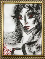 ORIGINAL Malerei A3 PAINTING abstract abstrakt erotic EROTIK FRAU WOMEN akt nu _