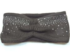 Bejeweled Crystal Studded women's knit Chocolate headband ear warmer