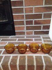 Vintage 4 Amber Coffee/Tea Cups