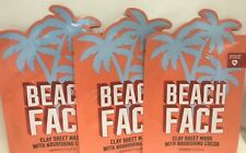3 VICTORIA'S SECRET PINK BEACH FACE CLAY SHEET MASK WITH NOURISHING COCOA