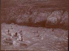 Italie, Capri, Barques à l entrée de la Grotte Bleue, ca.1900, Vintage citrate p