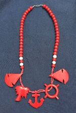 Red Bead Chunky Sailboat Anchor Vintage Necklace Wood Nautical Statement