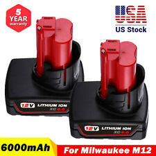 2Pcs For 12V Milwaukee M12B6 Lithium ion Xc 6.0 High Capacity Battery 48-11-2460