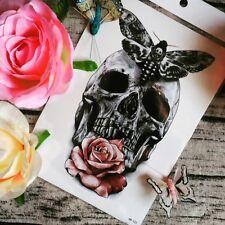 Skull Temporary Tattoo Stickers Body Art Waterproof Rose Butterfly