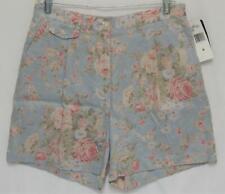 New LAUREN RALPH LAUREN Sky Blue Pink Floral Linen Pleated Casual Shorts Size 8