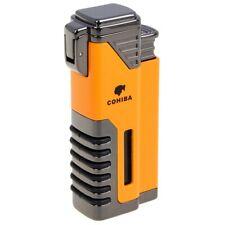 COHIBA Windproof Cigar Lighter 4 Torch Butane Gas Cigarette Punch Lighter Yellow