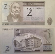 ESTONIA 2007 2 KROONI UNCIRCULATED NOTE KE von BAER NEW BUY FROM A USA SELLER !!