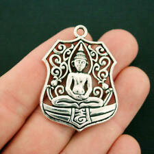2 Buddha Charms Antique Silver Tone Large Size Fabulous Detail - SC7471