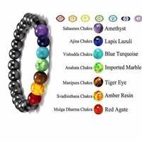7 Chakra Hematite Bracelet Crystal Stone Healing Balance Beads Anti-Anxiety Gift