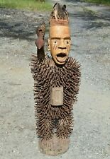 Antique African Bakongo Nkisi Nkondi Statue Nail Fetish Spear Whisk Congo Africa