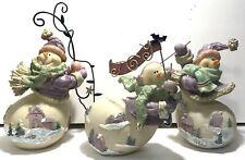 3 Vintage Home Interiors Homco 56042 Cheerful Snowmen Figurine Joy Lights Skiing