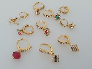 10 Piece Nose Rings Nath Bridal Wedding Zirconia Stone Gold Plated Indian Jewel