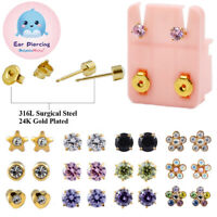 PAIR 24K Gold Plated Surgical Steel CZ Stone Ear Stud Cartilage Piercing Earring