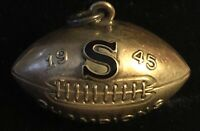 Vintage 10K YELLOW GOLD 1945 FOOTBALL CHARM PENDANT RED ENAMEL S