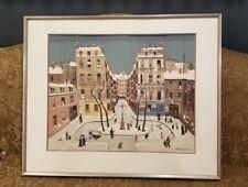 """Vintage Large Original Michel Delacroix Lithograph Town People Village 32""""x 26"""""""