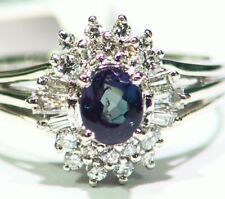 Vintage 1.05CT Platinum Natural Cut White Diamond Alexandrite Engagement Ring