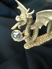 Large Pewter Dragon Wings Crystal Ball Cm606 Rare Spoontiques Collectible Got