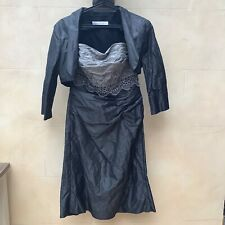 Stunning Linea Raffaelli Designer anthracite & pale grey dress & Bolero