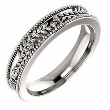 SIZE 7 - Vine and Leaf Design 14K White Gold Wedding Band 3.65mm Wide Ring New