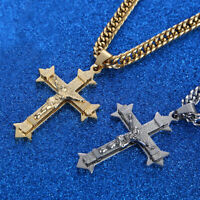 Top Quality Jesus Christ Cross Pendant 7mm With Chain Necklace Silver/Gold 24''