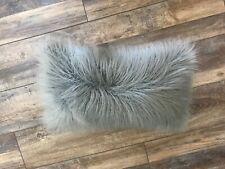 Gray Fuzzy Bolster Rectangular 12 X 20 Bed Throw Decor Pillow