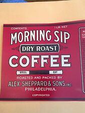 2 MORNING SIP COFFEE BIN LABELS ORIGINAL 1930s SCARCE PHILADELPHIA PENNSYLVANIA
