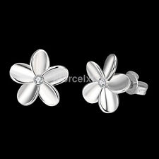 KIDS GIRLS LADIES White Gold Small Five-Leaf Flower STUDS EARRINGS GIFT Hot Sale